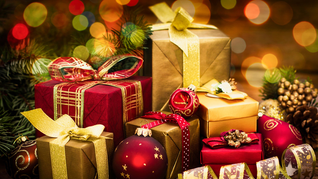 gold wrapped gifts images